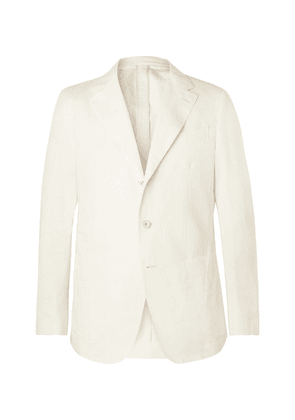 Caruso - Cream Butterfly Cotton, Linen And Silk-blend Suit Jacket - Cream