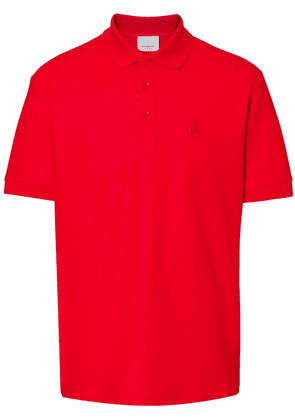 Burberry Monogram Motif Cotton Piqué Polo Shirt - Red