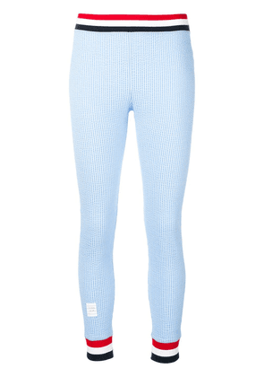 Thom Browne Rwb Trim Seersucker Leggings - Blue