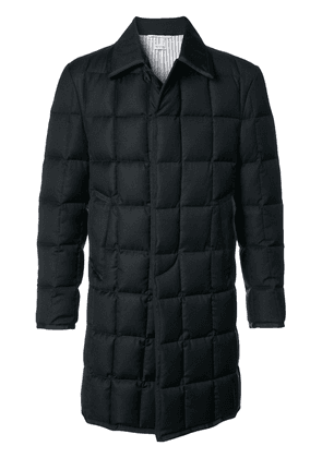 Thom Browne Downfilled Classic Bal Collar Overcoat With Grosgrain