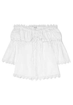 Charo Ruiz Kids - Off-the-shoulder Crocheted Lace-paneled Cotton-blend Top - White