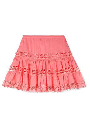 Charo Ruiz Kids - Greta Lace-trimmed Cotton-blend Skirt - Coral