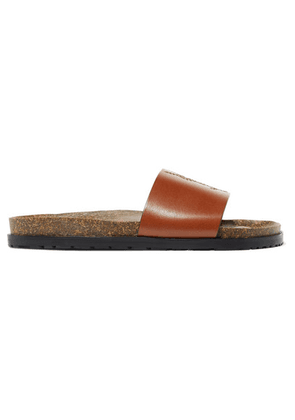 SAINT LAURENT - Jimmy Logo-embroidered Leather Slides - Tan