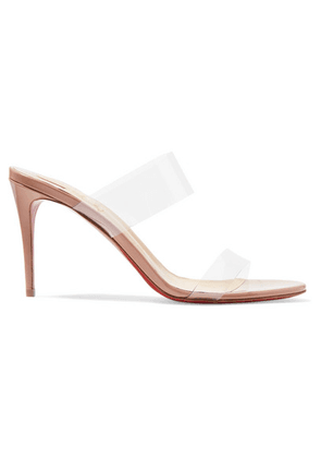 Christian Louboutin - Just Nothing 85 Pvc And Patent-leather Mules - Neutral