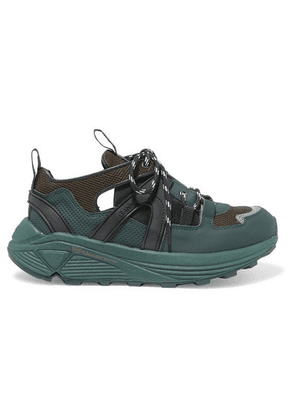 GANNI - Logo-print Suede, Rubber And Mesh Sneakers - Army green