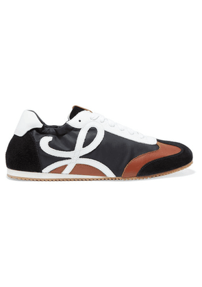Loewe - Leather, Suede And Shell Sneakers - Black