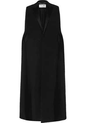 SAINT LAURENT - Satin-trimmed Wool Cape - Black