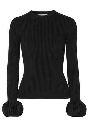 Valentino - Silk Georgette-trimmed Ribbed Stretch-knit Sweater - Black