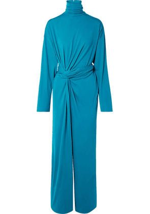Balenciaga - Twist-front Jersey Jumpsuit - Turquoise