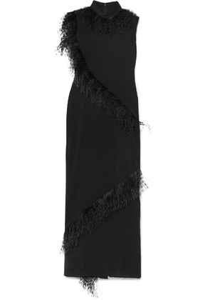 Christopher Kane - Feather-trimmed Crepe Gown - Black