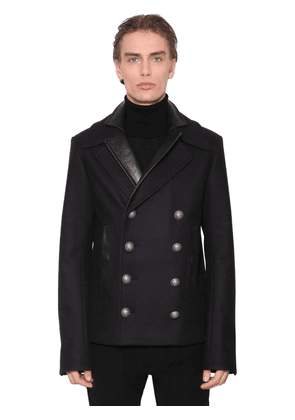 Double Collar Pea Coat W/leather Details