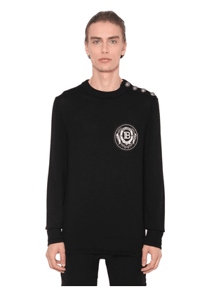 Logo Patch Wool Knit Sweater