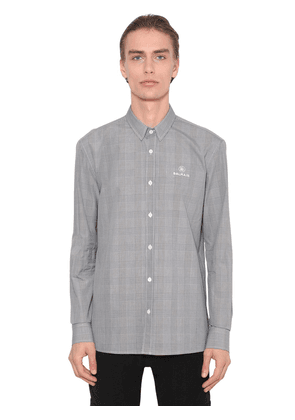 Embroidered Cotton Prince Of Wales Shirt