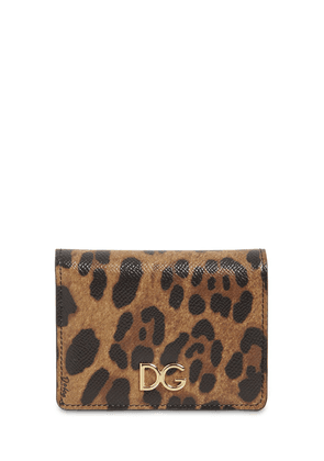 Leopard Print Compact Leather Wallet