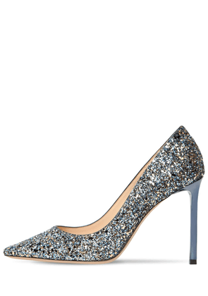 100mm Romy Glittered Leather Pumps