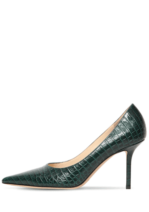 85mm Love Croc Embossed Leather Pumps