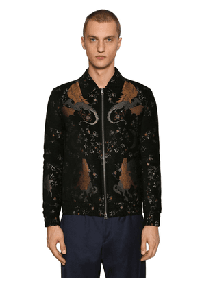 Embroidered Viscose Blend Bomber Jacket