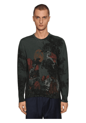Dragon Printed Wool Knit Sweater