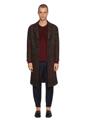 Carpet Motif Wool & Cashmere Blend Coat