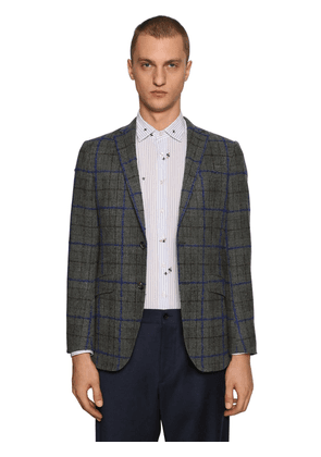 Checked Wool & Mohair Blend Jacket