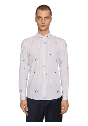 Fly Print Striped Cotton Shirt