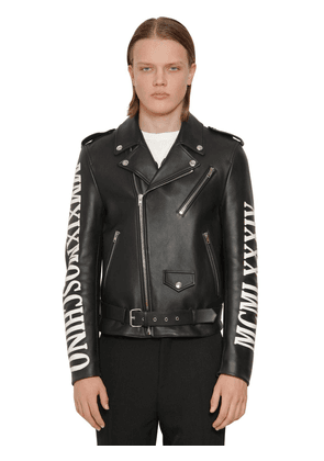 Logo Leather Biker Jacket