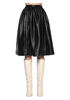 High Waist Faux Patent Leather Skirt
