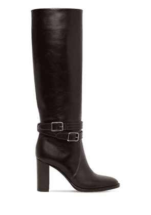 85mm Tall Leather Boots W/ Straps