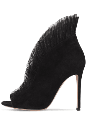 105mm Vamp Suede & Tulle Ankle Boots