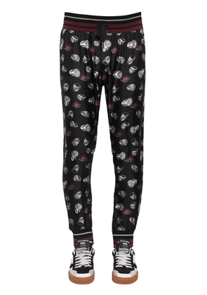 Ring Print Silk Twill Jogging Pants