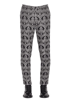Stretch Lace Effect Jacquard Trousers
