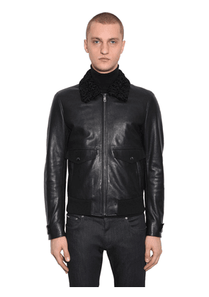 Astracan Leather Blouson Jacket