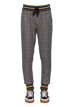 Checked Wool Blend Pants