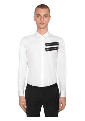 Zip Cotton Poplin Shirt