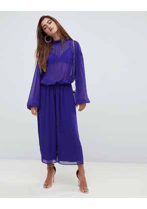 631a39f7fa ASOS DESIGN jumpsuit with balloon sleeve and tie back detail in chiffon
