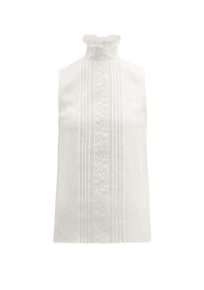 Andrew Gn - Chantilly Lace And Silk Blend Crepe Top - Womens - White