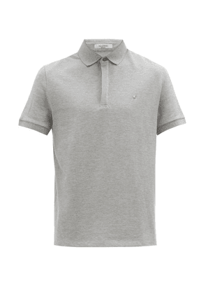 Valentino - Rockstud Embellished Cotton Polo Shirt - Mens - Grey