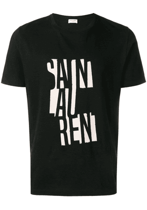 Saint Laurent deconstructed logo T-shirt - Black