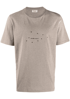 Saint Laurent logo constellation print T-shirt - Brown