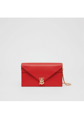 Burberry Small Leather TB Envelope Clutch, Red