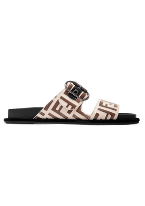 Fendi - Logo-print Leather And Rubber Slides - Beige
