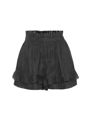 Griddy high-rise linen shorts