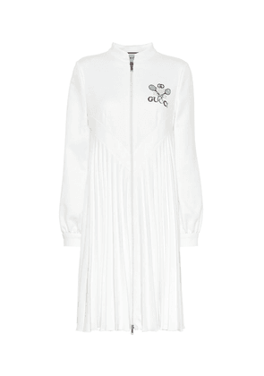 Embroidered technical jersey dress