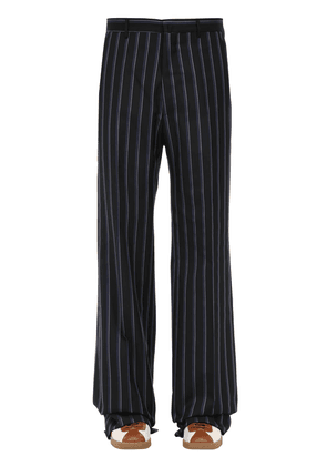 Striped Loose Wool Blend Trousers