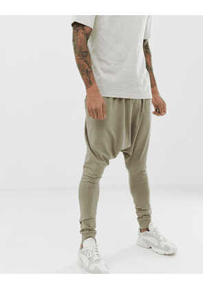 ASOS DESIGN extreme drop crotch joggers in lightweight jersey in khaki