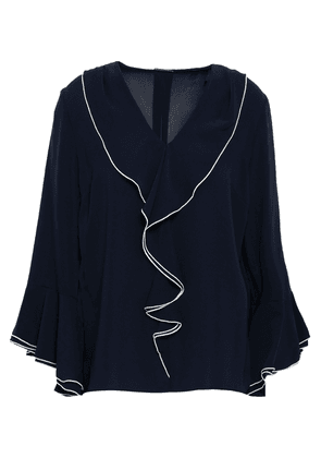 Elie Tahari Ruffled Stretch-crepe Blouse Woman Navy Size S