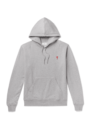 AMI - Logo-appliquéd Loopback Cotton-jersey Hoodie - Gray
