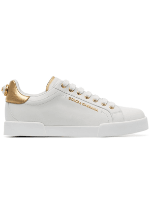 Dolce & Gabbana white pearl embellished leather sneakers
