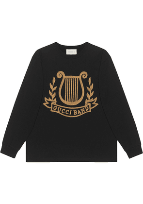 Gucci Oversized T-shirt with lyre pach - Black