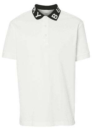 Burberry Logo Intarsia Cotton Piqué Polo Shirt - White